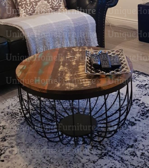 Industrial Coffee Table Vintage Handmade Rustic Solid Wood Metal Round Furniture Unique Home Furniture