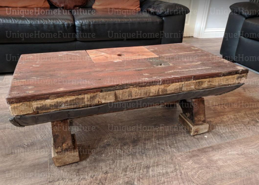 Industrial Coffee Table Vintage Storage Furniture Rustic Solid Wood Metal Handmade Barrel ...