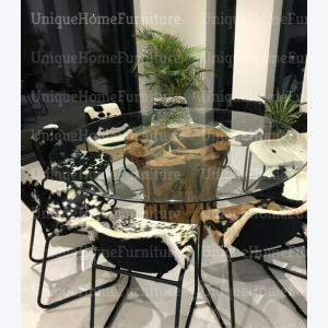 Leather Industrial Chairs Vintage Retro Kitchen Furniture Metal Dining Chair Set 2 Goat Seat Unique Home Furniture
